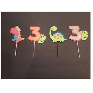 Girl Dinosaur cupcake toppers (12 pieces)
